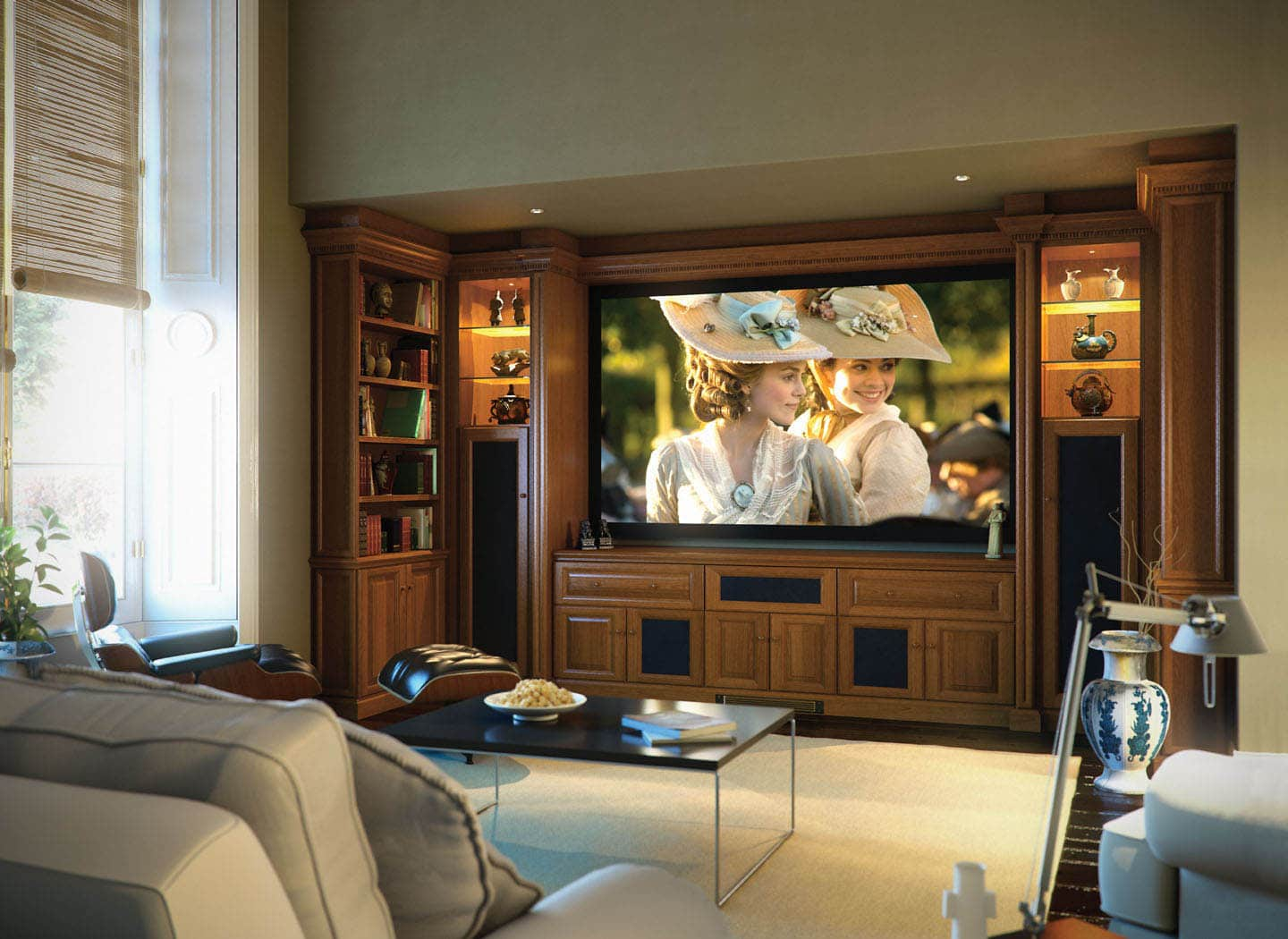 Fitted cabinets with large projection screen