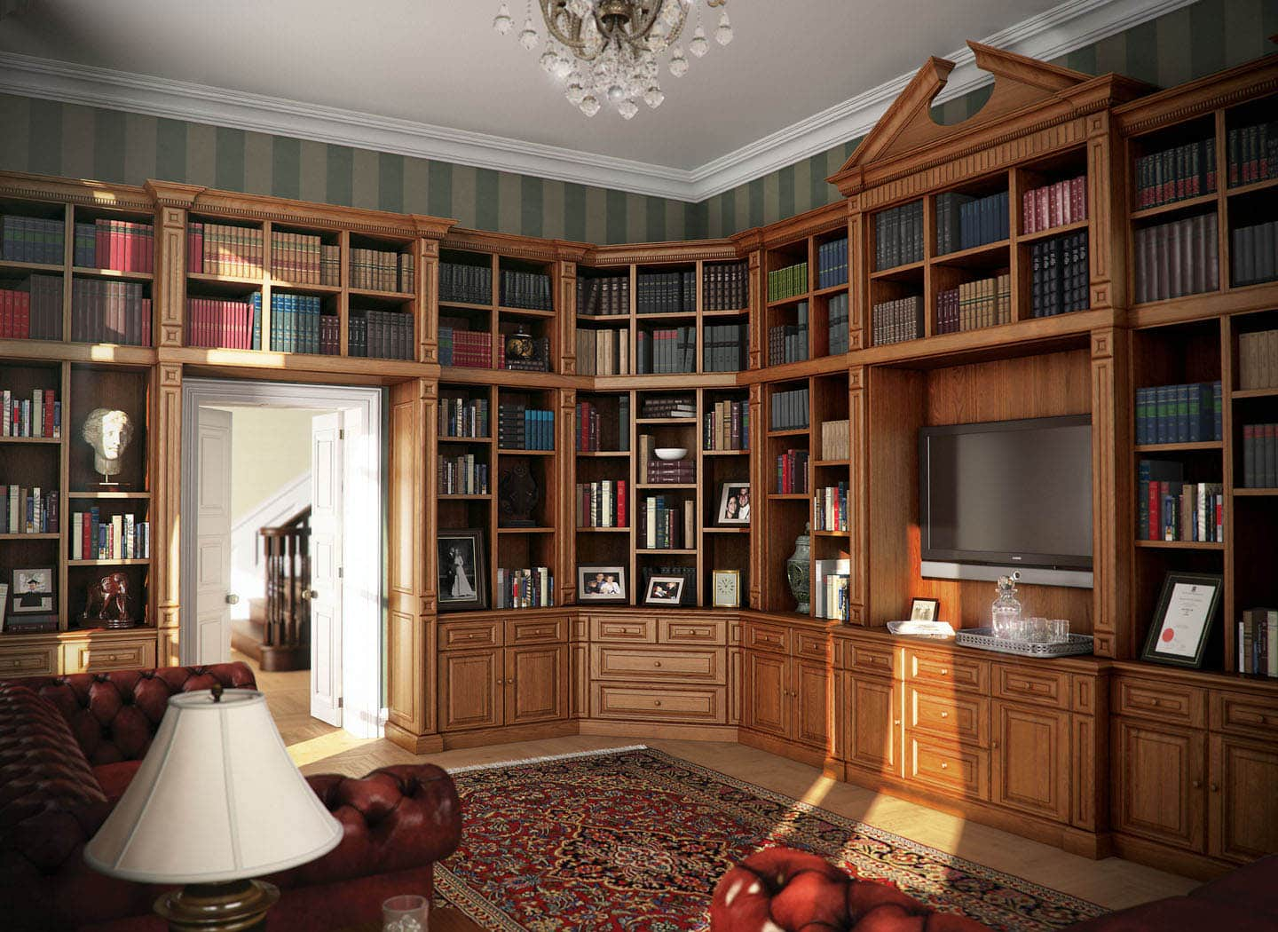 Traditional library bookcases in Oak