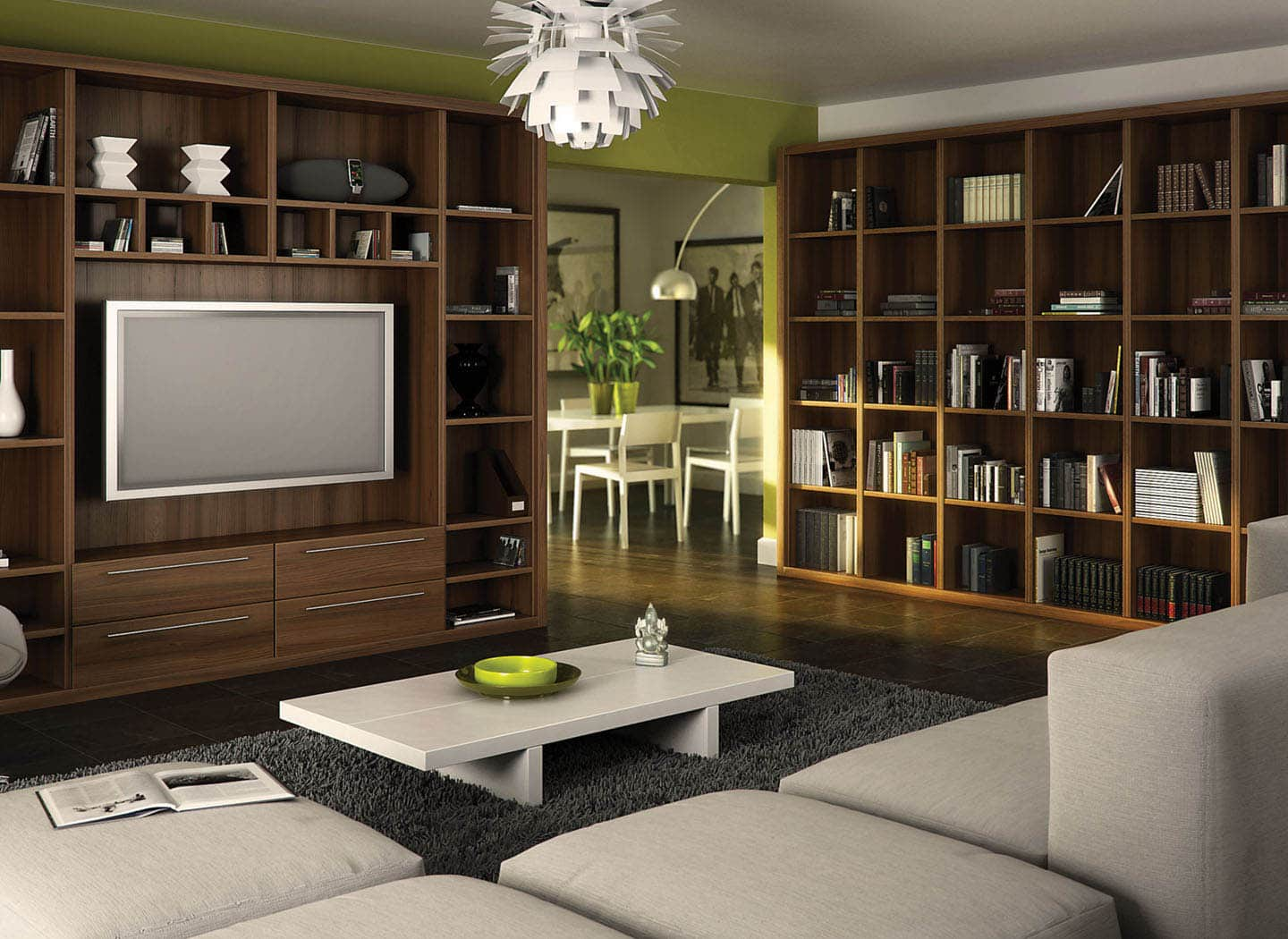 Stylish contemporary library in Walnut