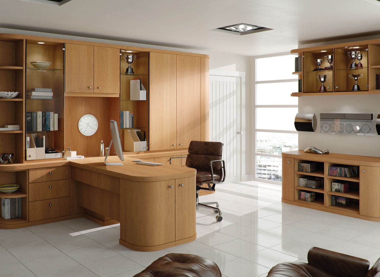 Contemporary fitted home office in Natural Oak
