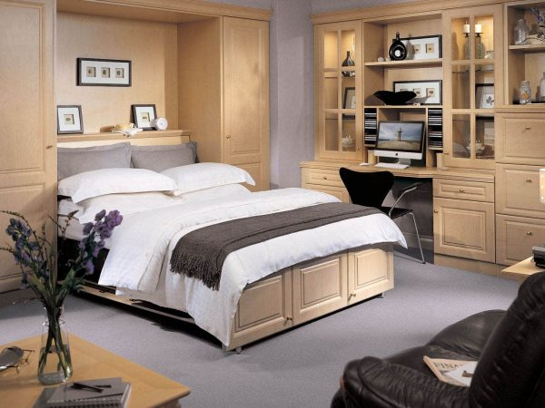 Open fitted wall bed in New England Maple