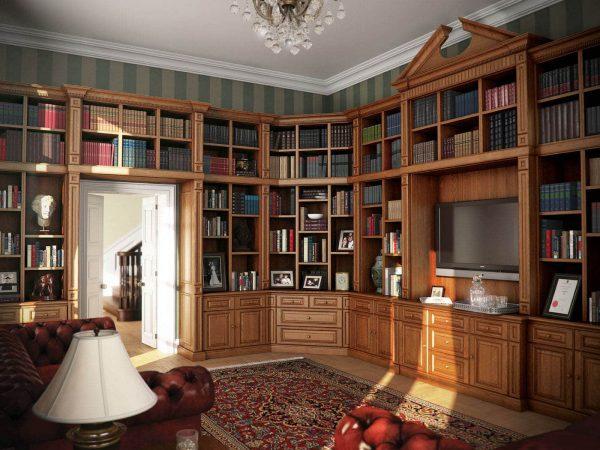 Bespoke library furniture in Mellow Oak