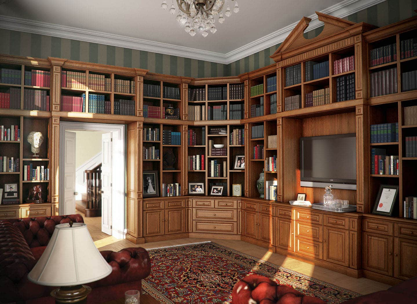 Bespoke library furniture in Mellow Oak