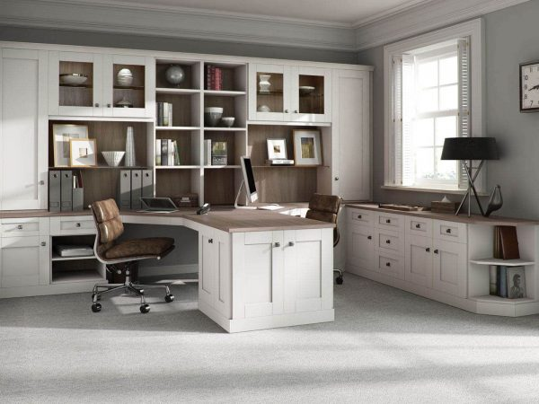 Fitted home office furniture in with Driftwood finish