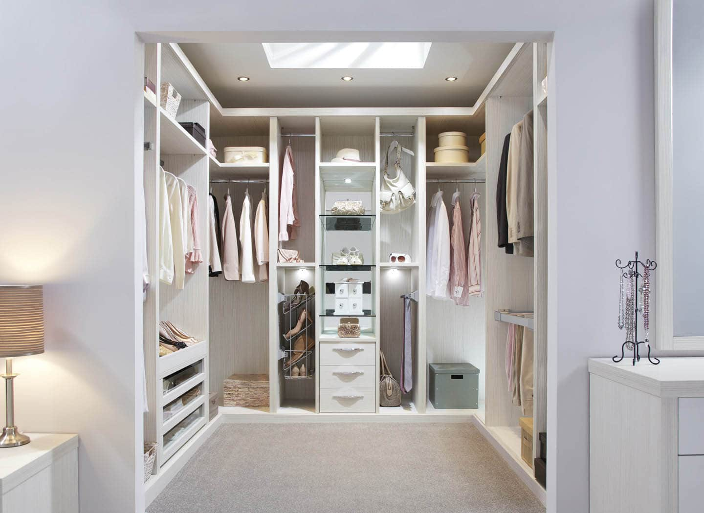 Dressing Rooms · Bespoke Walk In Wardrobe In Pearl White