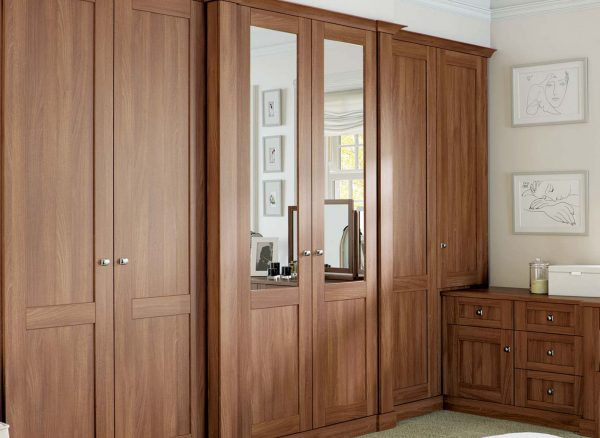 Fitted walnut wardrobe