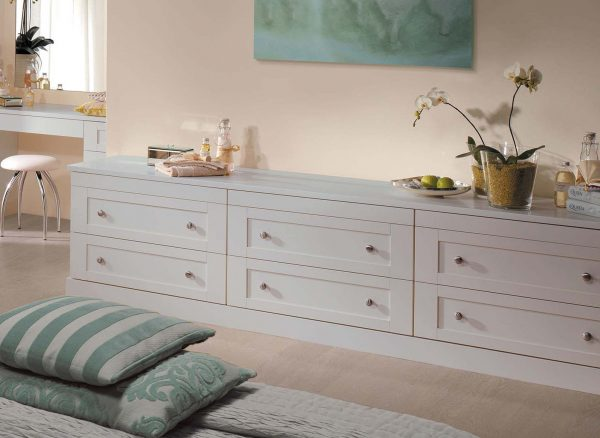 Full length drawers in light grey