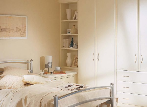 Carefully fitted white corner unit