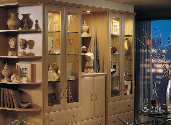 Glass fronted display cabinets