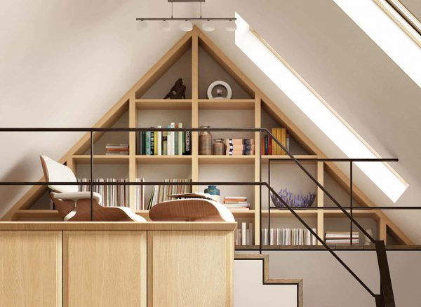 Precisely measured shelving for a sloped ceiling