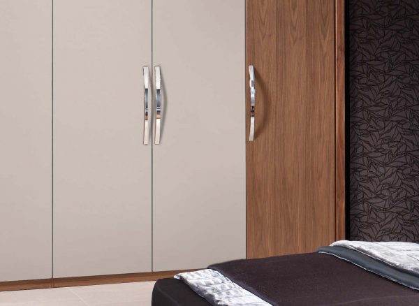 Fitted wardrobes in complementary colours