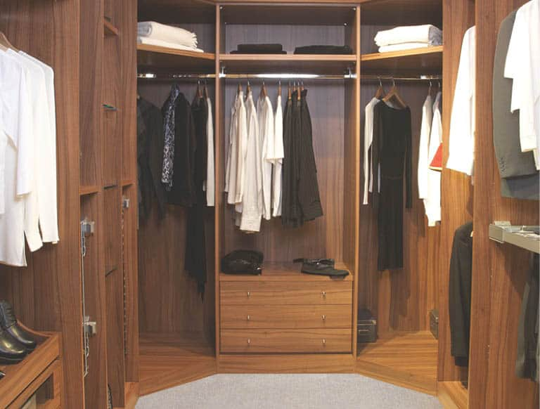 Romano Walk In Wardrobe In Dijon Walnut
