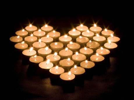 Heart shaped candle formation