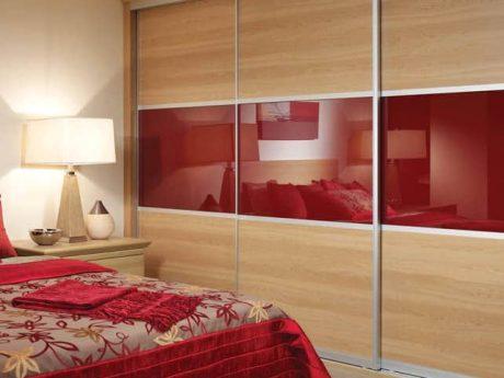 Red contemporary sliding wardrobe doors