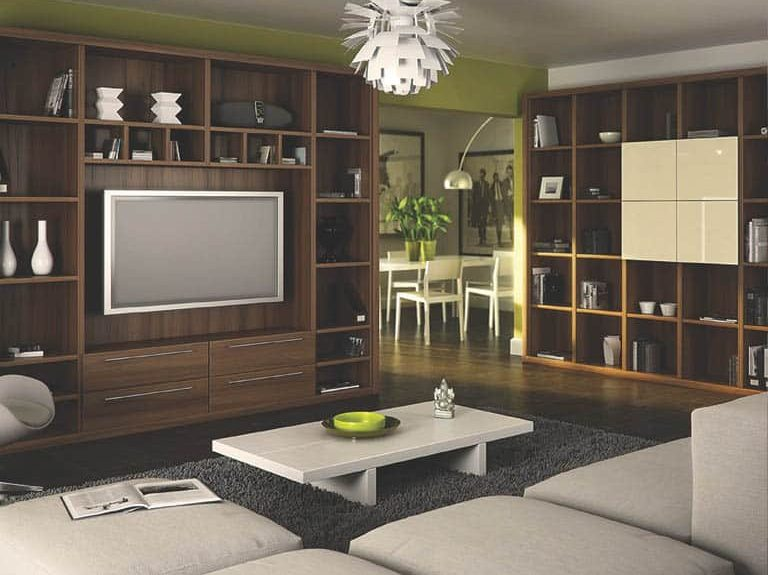Dijon Walnut finish shelving units in lounge