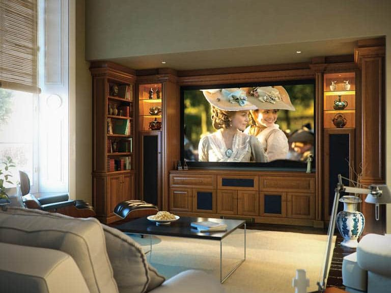 Shades of Oak fitted home cinema in Mellow Oak