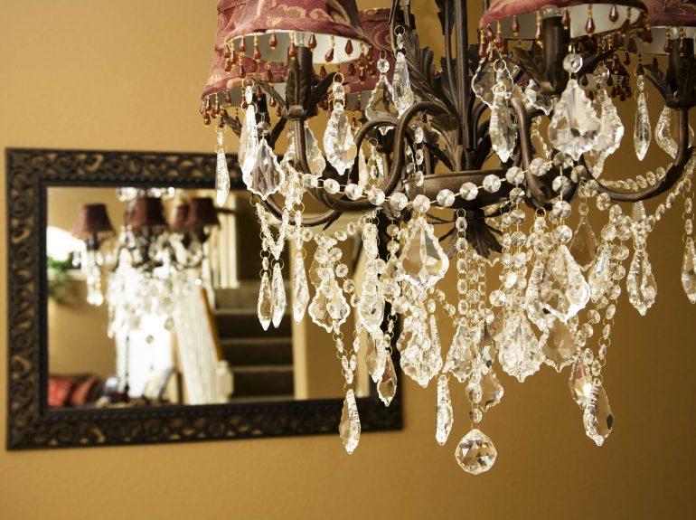 Statement chandelier in hallway