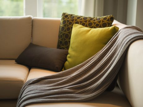 Scatter cushions and throw on sofa