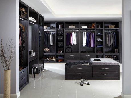 Neutral grey and Aura dressing room
