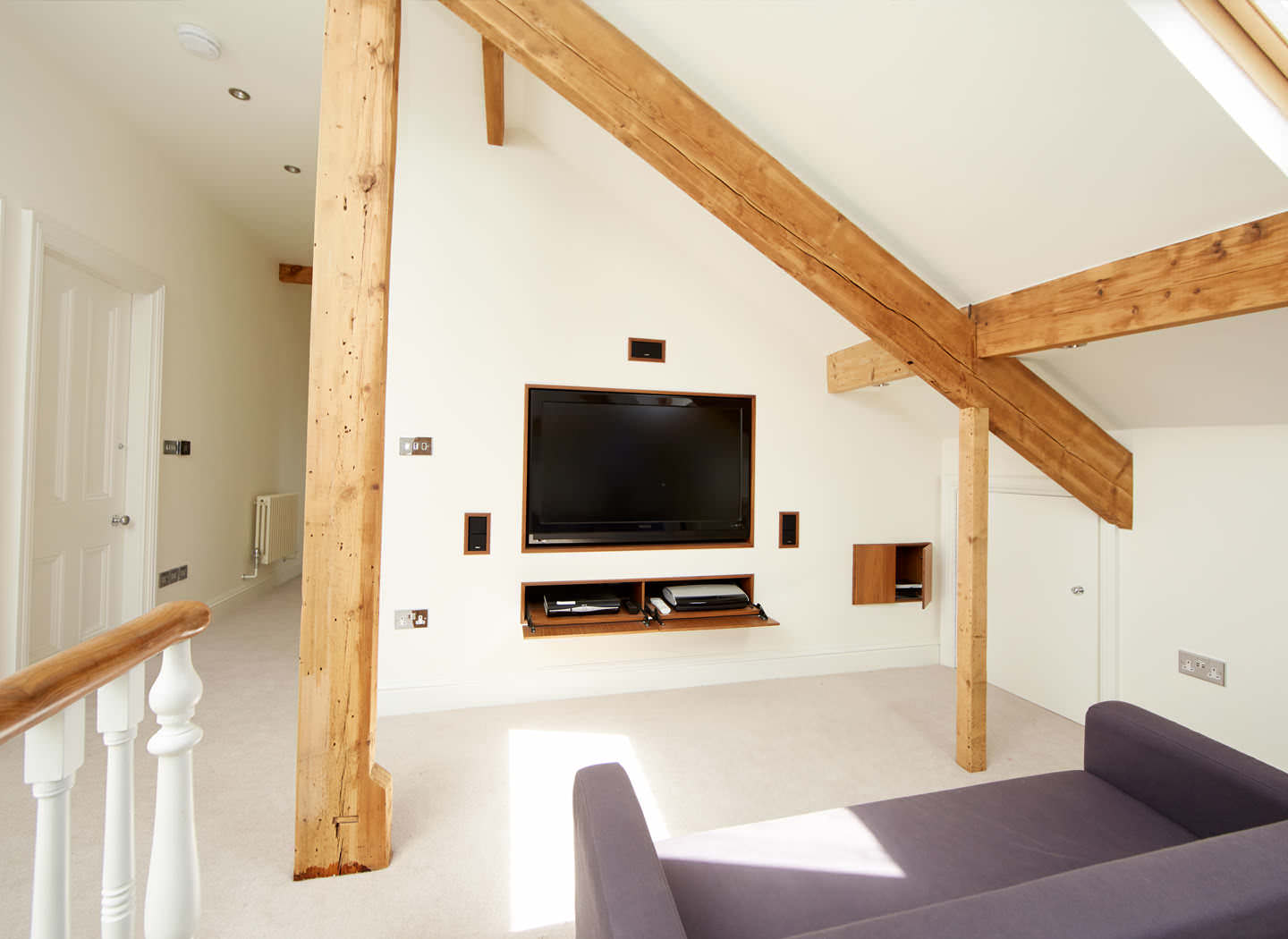 Case study showing entertainment room in loft conversion