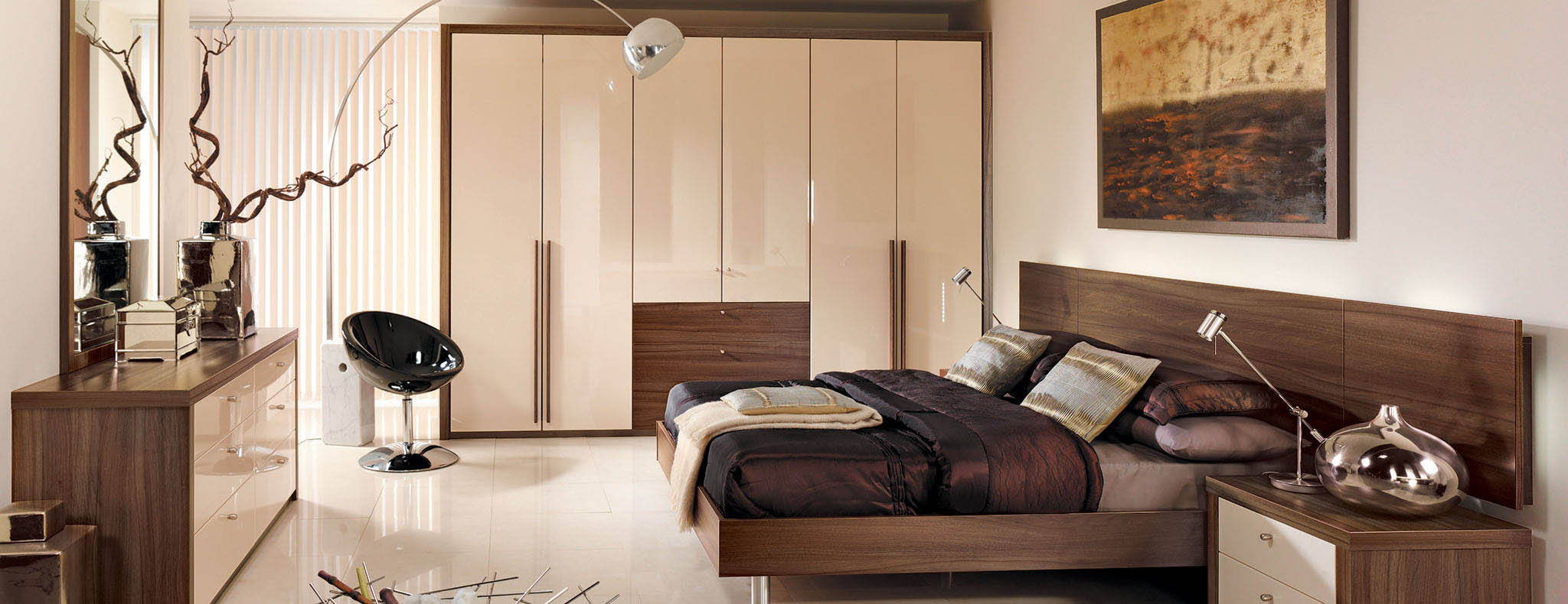 Capri High Gloss Cream Dijon Walnut Strachan Bedroom
