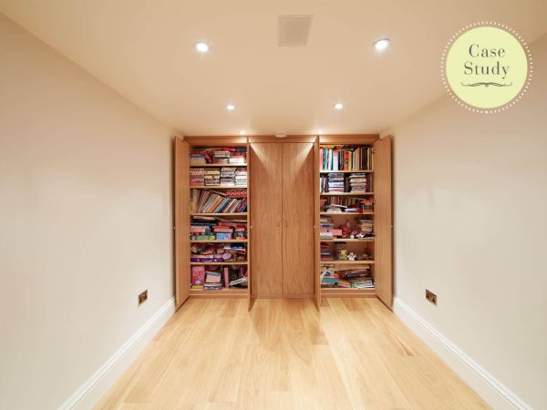 Fitted bookcases in oak