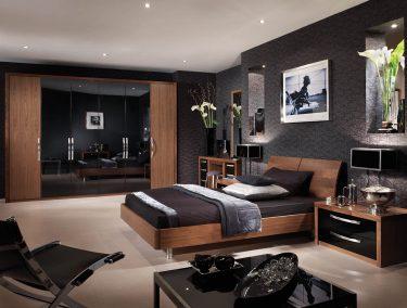 Capri bedroom in American Black Walnut & High Gloss Black