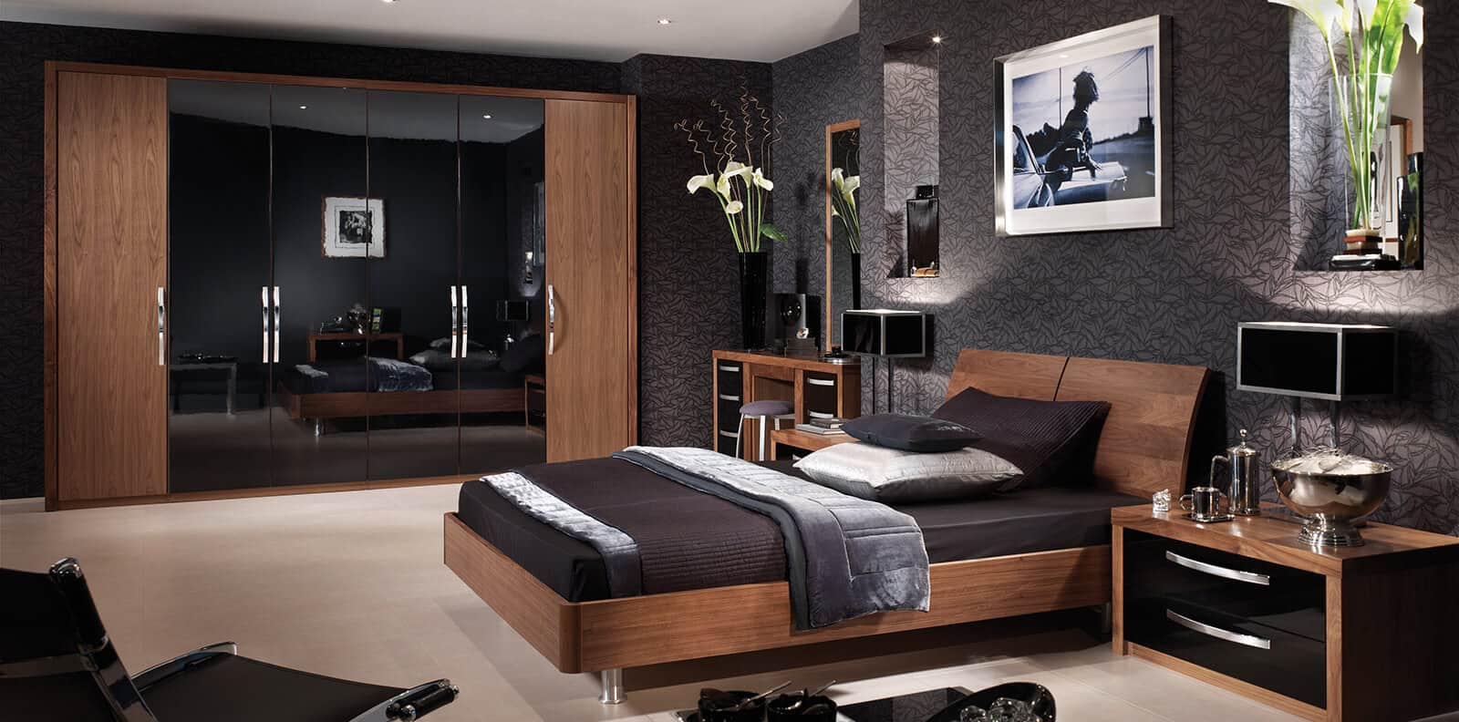 black modern bedroom furniture bedroom in american walnut amp glossy black strachan 14593