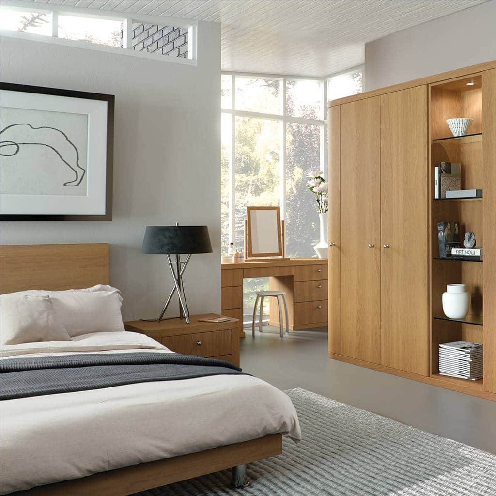 Fitted bedroom in a blue grey finish