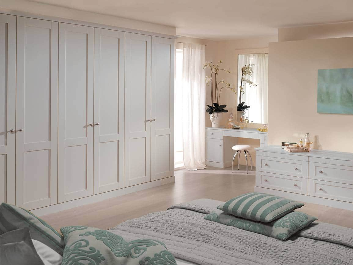 Fitted wardrobes in a blue grey