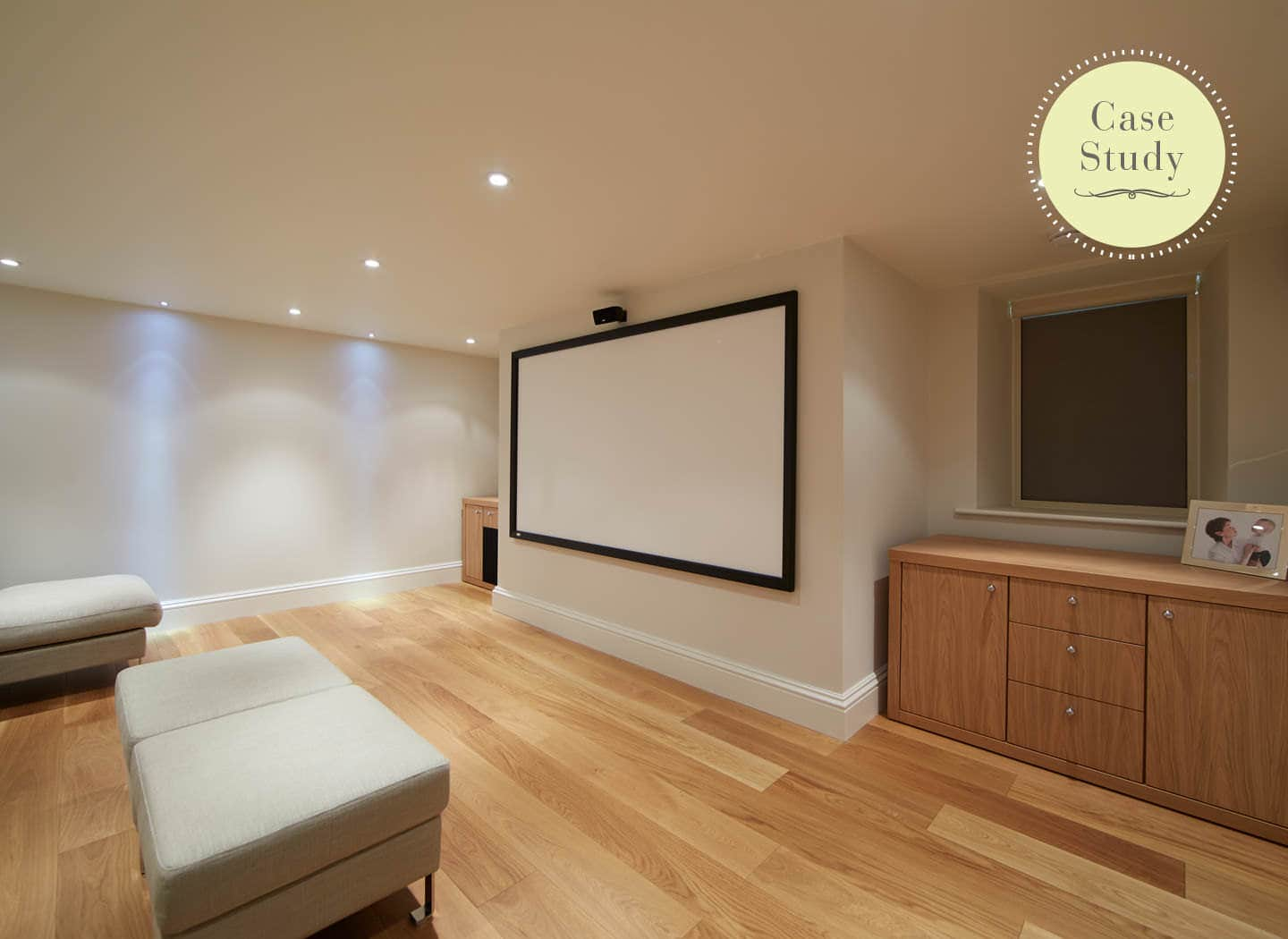 Fitted home cinema in a basement