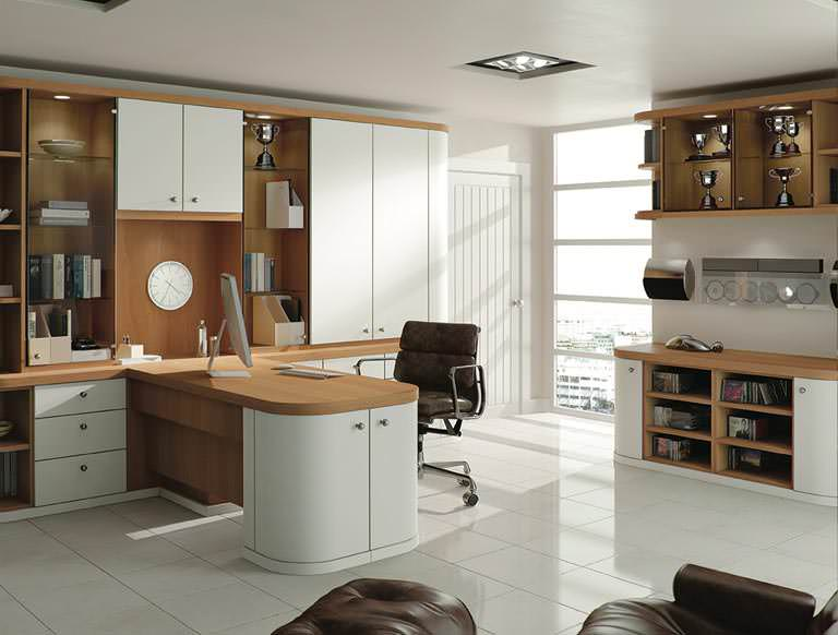 Optima home office in Pure White & Natural Oak
