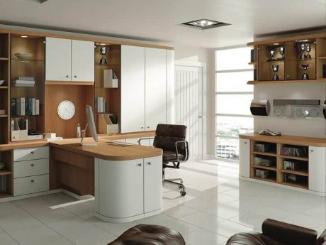 Optima home office in Pure White & Natural Oak