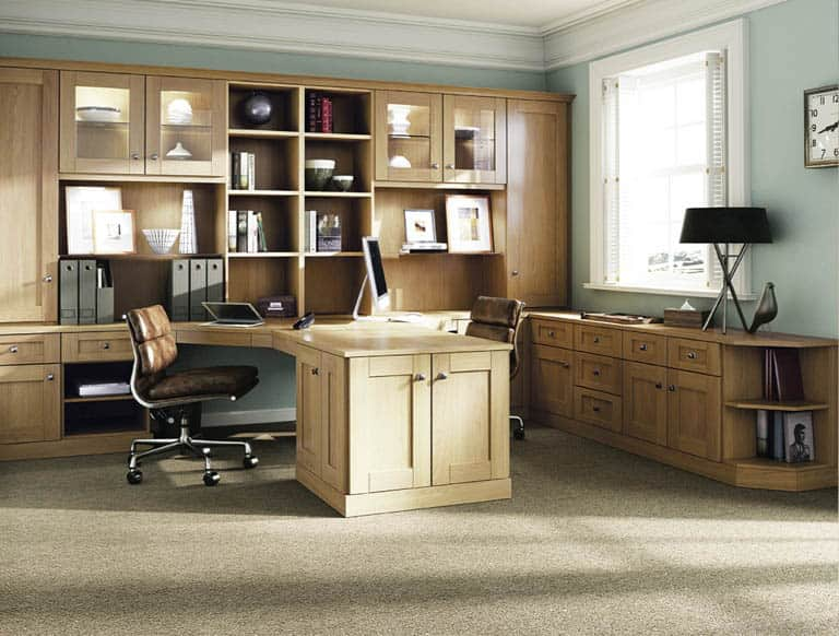Walnut Home Office Furniture In Fitted Home Office In English Oak Fitted Home Office Furniture Sit Stand Desks Strachan