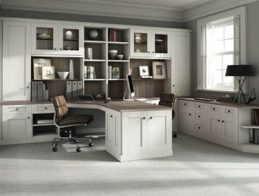 Verona fitted home office in Driftwood and Pure white.