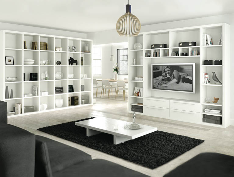 Capri library in Pure White