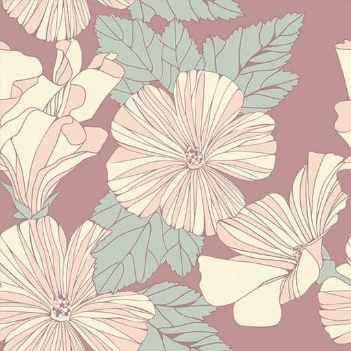 Flower print in cream and pale deep red
