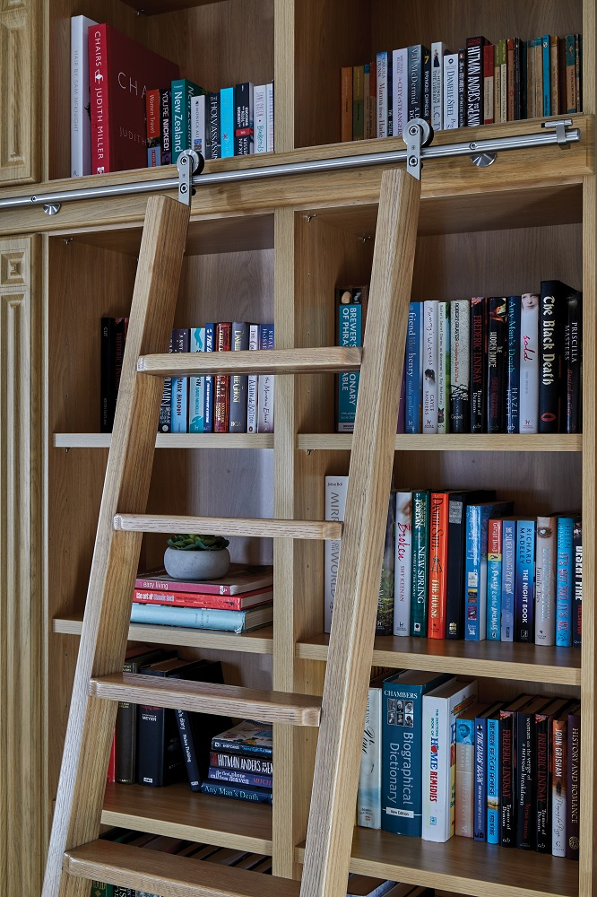 Oak rolling library ladder