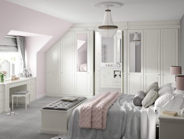 New England fitted bedroom in dove white