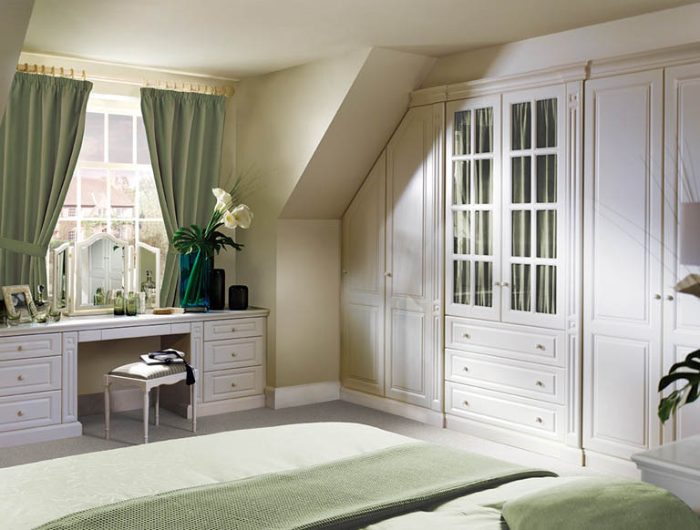 New England bedroom in Alabaster White