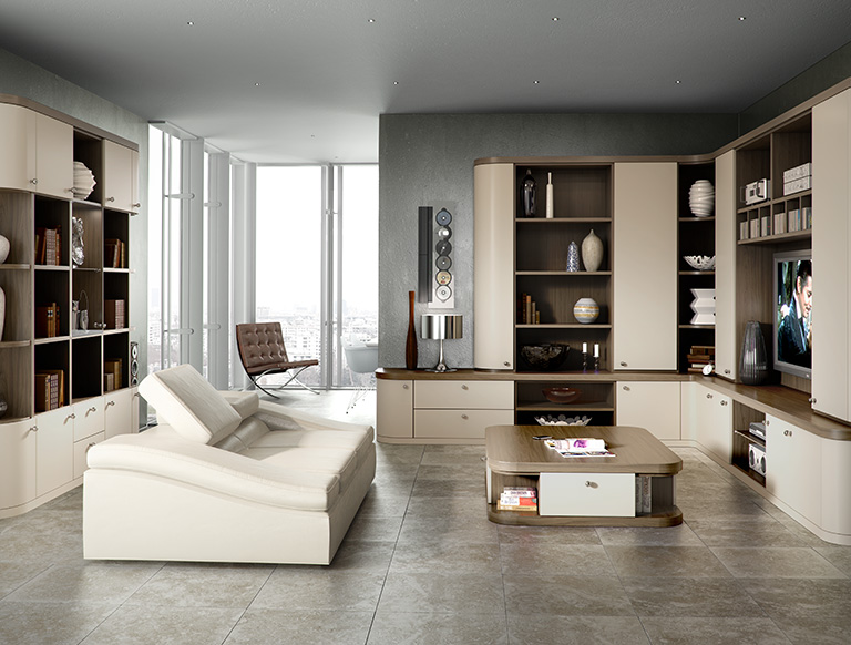 Fitted lounge furniture in dark olive finish