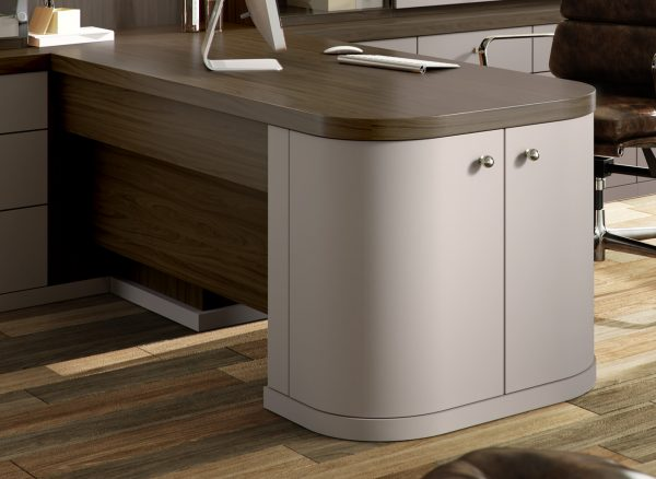 Peninsular desk with integrated cabinets