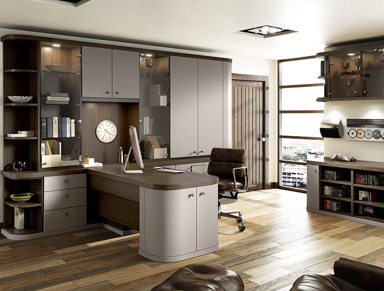 Fitted office in cappuccino and Amana Walnut