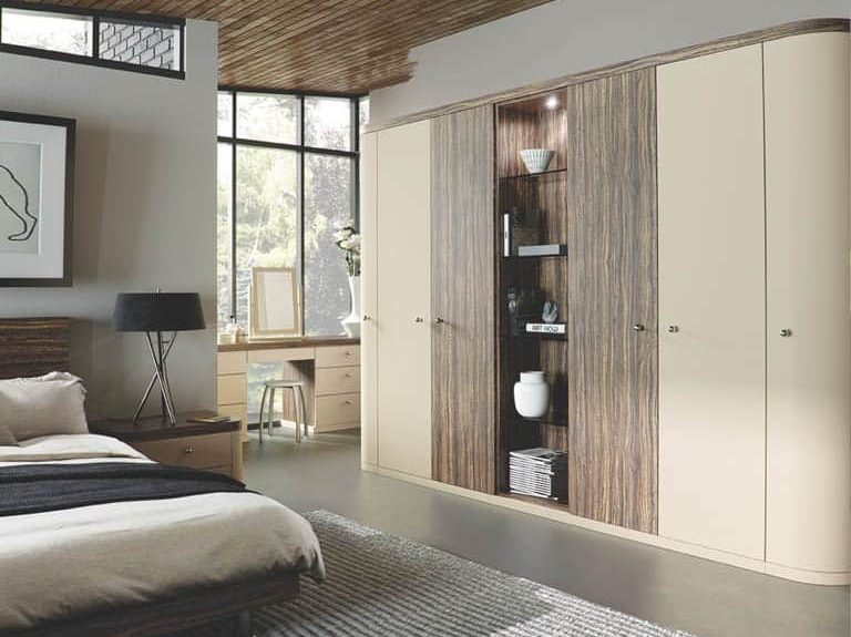 Optima bedroom in an Oyster & Dark Olive finish