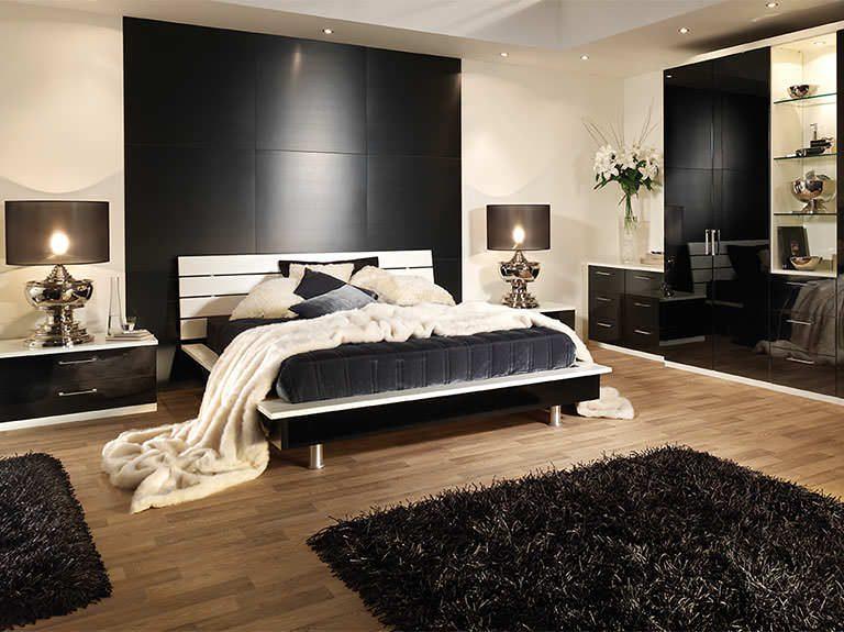 Portofino bedroom in High Gloss Black & White