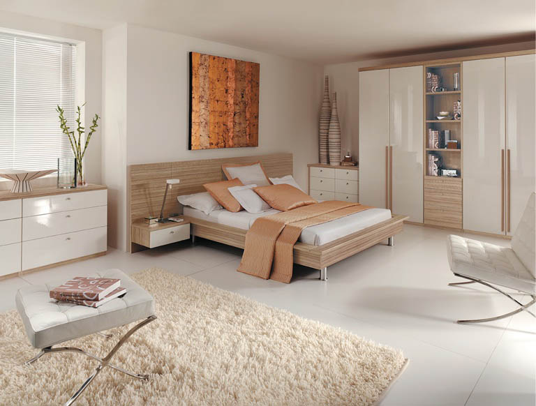 Portofino bedroom in High Gloss White & Granadillo