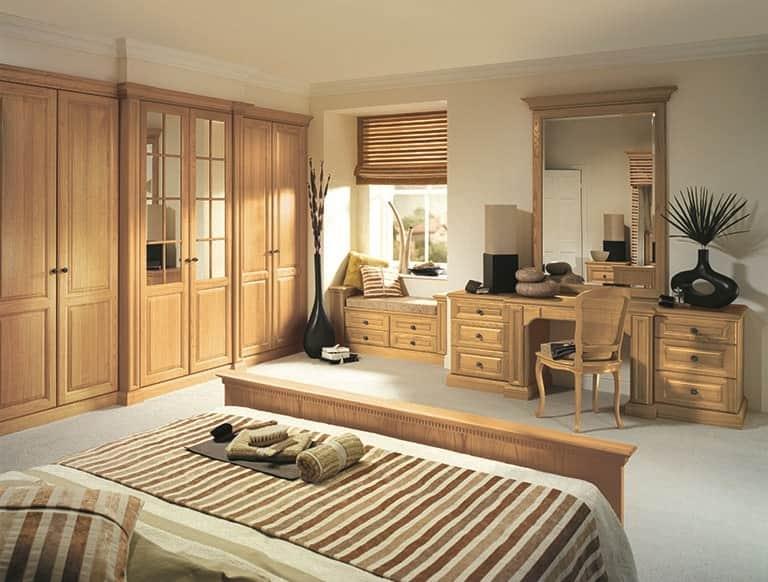 Shades of oak bedroom furniture in natural oak