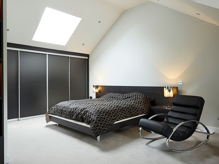 Case study showing contemporary bedroom design