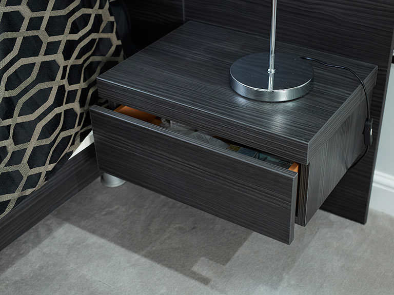 Case study showing drawer in bedside table