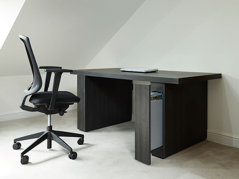 Case study showing desk with pull out pilasters